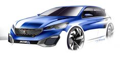 Peugeot 308 R HYbrid Concept Design Sketch by Thomas Rohm - Car Body Design