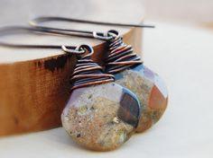 Rustic earthy earrings, teardrop briolette, wire wrapped, chalcedony earrings, dangle earrings, copper jewelry