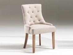 Chaise capitonnée en tissu ARINA, coloris sable