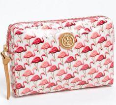Love pink flamingos  ~Tory Burch makeup bag @Nordstrom