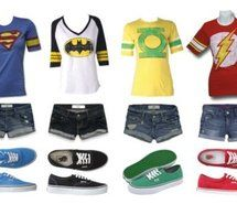 superman, batman, green lantern, and flash outfits