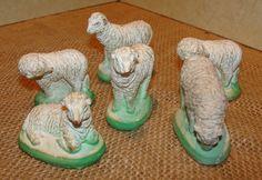 Set 6 Vintage Nativity Creche Figures PLASTER SHEEP LAMBS Stable Animal