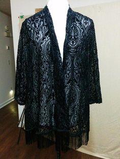 "BUY IT NOW! ALWAYS FREE SHIPPING! Black Burnout Velvet Open Front Jacket 3"" Fringe Size XL Rayon + Nylon  | eBay"