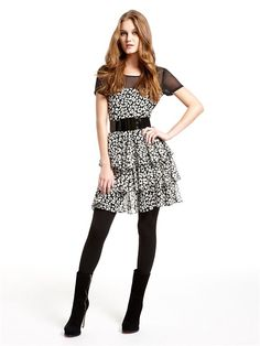 Dress with Tiered Ruffle Skirt, Georgette Yoke and Luxe Jersey Back (Black). DKNY. $445.00