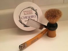 Barrister & Mann Cheshire shaving soap, Peter J. Michels C-Mon (Carl Monkhouse) 'Special' vintage straight razor, Rubberset 504 vintage pure badger shaving brush, and a great Jnat edge.