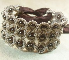 Crochet Jewelry, Bohemian or Cuff Bracelet, Natural brown shades - adjustable