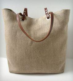 801327c15d7e Linen Leather Tote Linen Bag
