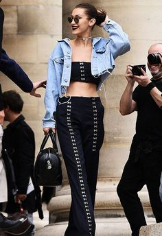 Bella Hadid can make a 00s pinstripe tailored co-ord look so right for now. The raw-hem denim jacket, plus hook and eye fastening details, take this two-piece from officey to off-the-chain cool
