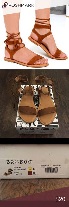 Bamboo Street Fair Cognac Suede Lace-Up Sandals These size 6 sandals are really cute and comfortable but were too small on me :(. Never worn. Bamboo Shoes Sandals