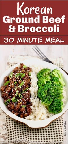 Easy Korean Ground Beef and Broccoli is a delicious meal that comes together in about 30 minutes! Great flavors that the whole family can agree on. A great weeknight dinner to add to your menu! with ground beef dinner Easy Korean Ground Beef and Broccoli Healthy Ground Beef, Ground Beef Recipes For Dinner, Dinner With Ground Beef, Easy Dinner Recipes, Ground Beef Recipes Asian, Easy Ground Beef Meals, Meals With Beef, Ground Chuck Recipes Dinners, Minced Beef Recipes Easy