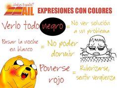 Existen muchas expresiones en #español relacionadas con los colores. ¡Aquí tenéis tres! #vocabularioespañol #learnspanish #studyspanish