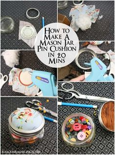 Step by step instructions for turning a glass jar into a cute pin cushion with storage - Rae Gun Ramblings Pincushion Tutorial, Mason Jar Crafts, Wine Bottle Crafts, Mason Jar Diy, Sewing Projects, Diy Projects To Try, Sewing Hacks, Sewing Crafts, Cute Pins