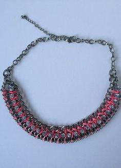 Kaufe meinen Artikel bei #Kleiderkreisel http://www.kleiderkreisel.de/accessoires/ketten-and-anhanger/137083326-statement-kette-pink-silber-neon-necklace-gliederkette