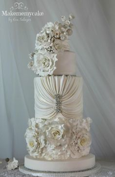 Pure White Wedding Cake  - Cake Central V.5 is 3 - Cake by Makememycake