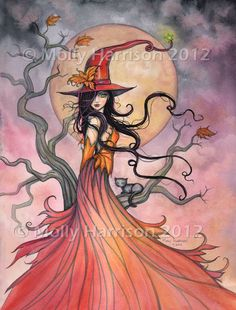 Autumn Magic Original Witch Cat Halloween Archival Giclee Print 8 x 10