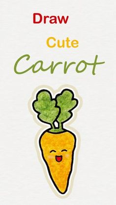 Learn how to draw so cute Carrot, easy step by step kawaii tutorial ♥ drawings step by step How to dr - Moyiki Sites Food Drawing Easy, Basic Drawing For Kids, Drawing Lessons For Kids, Easy Drawings For Kids, Art For Kids, Easter Drawings, Doodle Drawings, Cute Cartoon Drawings, Kawaii Drawings