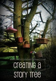 Interesting idea to promote language and literacy - Create several story baskets and take turns. Sun Hats & Wellie Boots: Creating a Story Tree with Story Baskets Forest School Activities, Nature Activities, Outdoor Activities For Kids, Outdoor Learning, Outdoor Play, Outdoor Hammock, Reading Activities, Literacy Activities, Outdoor Classroom