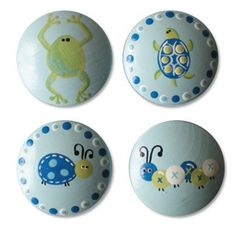 Hand Painted Kids Boys Garden Critter Drawer Knobs Nursery Cabinet Pulls by DoodlesDecor on Etsy