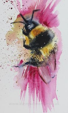 Busy Bee by Kaye Parmenter Watercolor Animals, Watercolor And Ink, Watercolor Paintings, Watercolors, Painting Inspiration, Art Inspo, Bee Art, Art Plastique, Art Forms