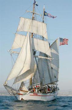 Brigantine Exy Johnson, San Pedro, CA California Photo by Darrall Slater. Old Sailing Ships, Sailing Boat, Whitewater Kayaking, Canoe Trip, Sail Away, Tall Ships, Model Ships, Lighthouse, At Least