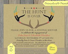 The Hunt is Over Invitation Couples Shower Invite, Bridal Shower, Engagement Party, Antlers, Wedding Shower Invitation, Printable, Digital