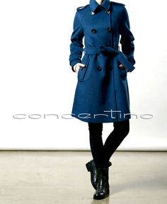 Blue Wool coat  Womens long coat  Fit and Flare  Military style  Winter coat / Jacket. $149.00, via Etsy.