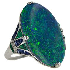 Large Black Opal Art Deco Style Platinum, Diamond, Sapphire and Emeralds