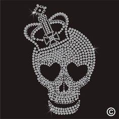 Hotfix Rhinestone Motif CROWN SKULL HEART EYES Diamante Transfer Iron On Gem #Jewelry #Deal #Fashion