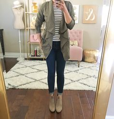 petite modern skinny ankle jeans, petite draped utility jacket, striped shirt, Feina Ankle Booties                                                                                                                                                                                 More