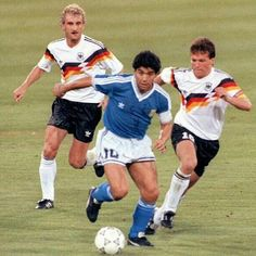 Mathauss and Voller chasing Maradona in 1990 World Cup final