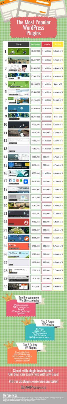 The Most Popular WordPress Plugins #Infographic #WordPress #Website