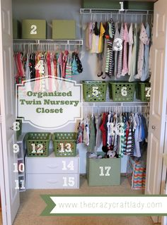 An organized twin nursery closet - using fabric-covered diaper boxes and dollar store bins.