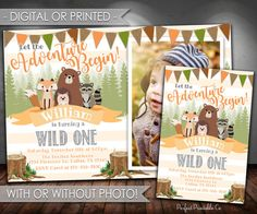 Woodland Invitation Woodland Birthday by PerfectPrintableCo