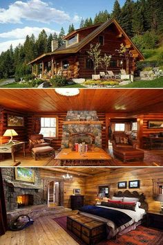 Image may contain: house, sky, bedroom, tree, outdoor and indoor Log Cabin Living, Log Cabin Homes, Log Cabins, Cabin House Plans, Tiny House Cabin, Cabin Design, House Design, Casas Country, Log Home Decorating