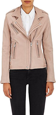 Women's Han Lambskin Moto Jacket $1,265 At Barneys New York IRO's pink-grey supple lambskin Han moto jacket is cut with snap-back notch lapels & features four zip front pockets. Asymmetric placket. Studed-snap epaulettes. Belt tabs at sides. Gusseted zip cuffs. Polished silvertone hardware https://api.shopstyle.com/action/apiVisitRetailer?id=534595271&pid=uid841-37799971-81