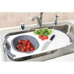 Over-the-Sink Strainer Board w/Silicone Strainer