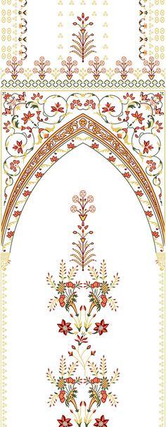 Textile Pattern Design, Pattern Art, Baroque Pattern, Textile Patterns, Textiles, Flower Frame, Flower Art, Islamic Motifs, Border Embroidery Designs