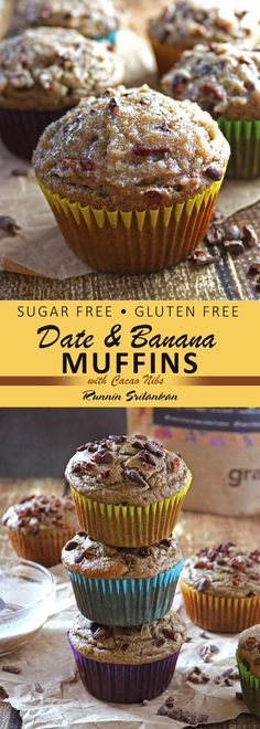 Date Banana Muffins with Cacao Nibs are refined sugar-free, gluten-free and dairy-free AND taste-full!These Date Banana Muffins with Cacao Nibs are refined sugar-free, gluten-free and dairy-free AND taste-full! Sugar Free Desserts, Köstliche Desserts, Sugar Free Recipes, Gluten Free Desserts, Baby Food Recipes, Date Recipes Gluten Free, Date Sugar Recipes, Date Recipes Healthy, Food Baby
