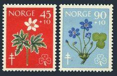 Norway B62-B63,MNH.Michel 438-439. Red Cross 1960.White Anemone,Hepatica.