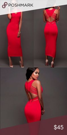"""Red Elegant Midi Sexy Party Dress Coming soon! """"Like"""" to be notified when it arrives! Dresses Midi"""