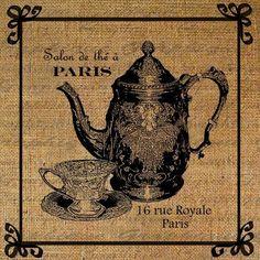 Salon de Paris Teapot Tea Cup French Script Digital Image Download