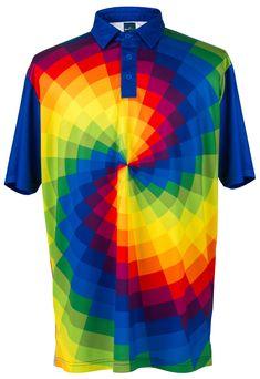cbcbddc4 ReadyGOLF Mens Golf Polo Shirt - Tie Dye Golf Push Cart, Golf Outfit