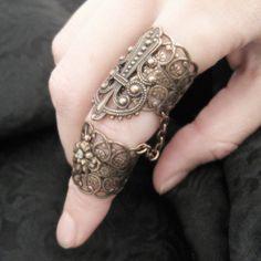 Aegis Ring - Copper Filigree and Jonquil Satin Swarovski Armor Ring. $25.00, via Etsy.