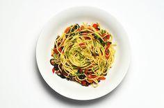 Spaghetti with Olives, Capers and Roasted Red Pepper Recipe Main Dishes with spaghetti, olive oil, black olives, roasted red peppers, capers, lemon, parsley