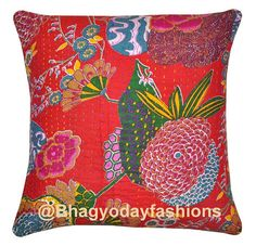 """Kantha Pillow - Reversible Indian Cotton Cushion Cover Kantha Floral Embroidered Handmade Decorative Throw 16"""""""