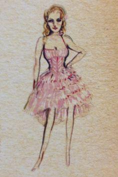 Original sketch for Glinda's dress.