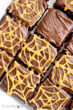 Chocolate Peanut Butter Spiderweb Brownies (V, GF, DF): a spooky Halloween recipe for decadently rich brownies covered in peanut butter spiderwebs! #Vegan #GlutenFree #DairyFree | http://BeamingBaker.com