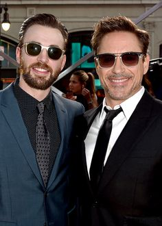 Chris Evans and Robert Downey Jr attend the premiere of Marvel's 'Captain America: Civil War' at Dolby Theatre on April 12, 2016 in Los Angeles, California.