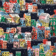 Townhouses | Seeing the brightly-coloured terraced houses in our London neighbourhood of Notting Hill lit up on a winter's night inspired this print | Cath Kidston AW14 |