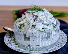 Krämig gurksallad - ZEINAS KITCHEN Swedish Chef, Zeina, Greens Recipe, Food Inspiration, Side Dishes, Food Porn, Food And Drink, Vegetarian, Favorite Recipes